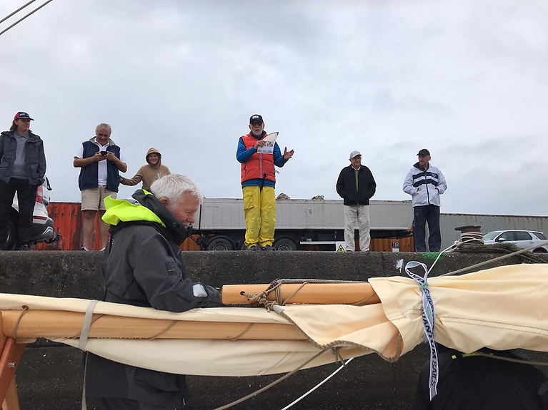 Hal Sisk gives a a pre-departure briefing on the quayside at Arklow on Friday morning, July 30 at 0800 hours