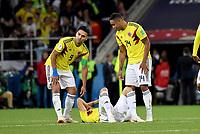 MOSCU - RUSIA, 03-07-2018: Johan MOJICA, Wilmar BARRIOS y Radamel FALCAO GARCIA jugadores de Colombia lucen decepcionados después del partido de octavos de final entre Colombia y Inglaterra por la Copa Mundial de la FIFA Rusia 2018 jugado en el estadio del Spartak en Moscú, Rusia. / Johan MOJICA, Wilmar BARRIOS and Radamel FALCAO GARCIA players of Colombia look disappointed after the match between Colombia and England of the round of 16 for the FIFA World Cup Russia 2018 played at Spartak stadium in Moscow, Russia. Photo: VizzorImage / Julian Medina / Cont