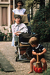 Stephen Hawking and young son Tim. Hawking family home 1980s UK Cambridge.