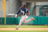 Corpus Christi Hooks second baseman Tony Kemp (7) runs to second on a double during a game against the Arkansas Travelers on May 29, 2015 at Dickey-Stephens Park in Little Rock, Arkansas.  Corpus Christi defeated Arkansas 4-0 in a rain shortened game.  (Mike Janes/Four Seam Images)