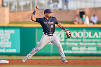 Jacksonville Jumbo Shrimp second baseman Justin Twine (11) throws to first base during a game against the Pensacola Blue Wahoos on August 15, 2018 at Blue Wahoos Stadium in Pensacola, Florida.  Jacksonville defeated Pensacola 9-2.  (Mike Janes/Four Seam Images)