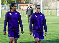 Anderlecht's Sakina Diki Ouzraoui (21) (L) and Anderlecht's Stefania Vatafu (10) (R) pictured during the warm up before a female soccer game between the women teams of Zulte Waregem B Dames and RSC Anderlecht Ladies on the 1/16 th qualifying round for the Belgian Womens Cup 2020  2021 , on saturday 26 th of September 2020  in Zulte , Belgium . PHOTO SPORTPIX.BE | SPP | SEVIL OKTEM