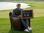 """Francesco Molinari was asked by Ballantine's at the BMW Masters to describe how he stays true to himself; his answer is shown. Ballantine's, who recently announced their new global marketing campaign, """"Stay True, Leave An Impression"""", is a sponsor at the BMW Masters, which takes place from the 24-27 October at Lake Malaren Golf Club in Shanghai.  Photo by Andy Jones / The Power of Sport Images for Ballantines."""
