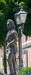 Deutschland, Bayern, Mittelfranken, Naturpark Altmuehltal, Pappenheim: Denkmal Gottfried Heinrich Graf zu Pappenheim | Germany, Bavaria, Middle Franconia, Nature Park Altmuehl Valley, Pappenheim: statue of Gottfried Heinrich Count of Pappenheim