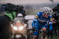 Yves Lampaert (BEL/Quick Step Floors) up the Paterberg<br /> <br /> 61th E3 Harelbeke (1.UWT)<br /> Harelbeke - Harelbeke (206km)
