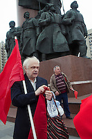 Moscow, Russia, 01/05/2011..A mixture of Communist and anarchist anti-government groups demonstrate in central Moscow. A variety of political groups took to the streets on the traditional Russian Mayday holiday.