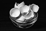 Black and white image of bowl of egg shells