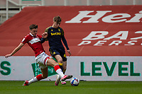 13th March 2021; Riverside Stadium, Middlesbrough, Cleveland, England; English Football League Championship Football, Middlesbrough versus Stoke City; Dael Fry of Middlesbrough  tackles Jack Clarke of Stoke City