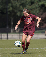 Virginia Tech forward Nicolette Young (28) controls the ball.Virginia Tech (maroon) defeated Boston College (white), 1-0, at Newton Soccer Field, on September 22, 2013.