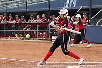 GREENSBORO, NC - MARCH 11: Katie Keller #6 of Northern Illinois University hits the ball during a game between Northern Illinois and UNC Greensboro at UNCG Softball Stadium on March 11, 2020 in Greensboro, North Carolina.