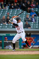 Indianapolis Indians catcher Jacob Stallings (32) bats during a game against the Toledo Mud Hens on May 2, 2017 at Victory Field in Indianapolis, Indiana.  Indianapolis defeated Toledo 9-2.  (Mike Janes/Four Seam Images)