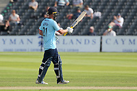 Tom Westley of Essex raises his bat to celebrate reaching his fifty during Gloucestershire vs Essex Eagles, Royal London One-Day Cup Cricket at the Bristol County Ground on 3rd August 2021