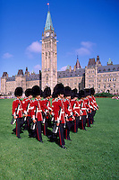 Changing of the Guard Ceremony at the Parliament Buildings on Parliament Hill, in the City of Ottawa, Ontario, Canada