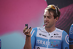 Alex Dowsett (GBR) Israel Start-Up Nation at sign on before the start of Stage 11 of the 103rd edition of the Giro d'Italia 2020 running 182km from Porto Sant'Elpidio to Rimini, Italy. 14th October 2020.  <br /> Picture: LaPresse/Gian Mattia D'Alberto | Cyclefile<br /> <br /> All photos usage must carry mandatory copyright credit (© Cyclefile | LaPresse/Gian Mattia D'Alberto)