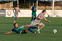 HARTFORD, CT - JULY 10: Cameron Harper #17 of New York Red Bulls II dribbles as Richie Schlentz #22 of Hartford Athletic defends during a game between New York Red Bulls II and Hartford Athletics at Dillon Stadium on July 10, 2021 in Hartford, Connecticut.