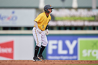 FCL Pirates Gold Tsung-Che Cheng (5) leading off second base during a game against the FCL Rays on July 26, 2021 at LECOM Park in Bradenton, Florida. (Mike Janes/Four Seam Images)
