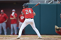 Max Burt (24) of the Northeastern Huskies at bat against the North Carolina State Wolfpack at Doak Field at Dail Park on June 2, 2018 in Raleigh, North Carolina. The Wolfpack defeated the Huskies 9-2. (Brian Westerholt/Four Seam Images)