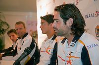 7-9-09, Alphen aan den Rijn, Persconferentie Daviscup team, Raemon Sluiter aan het woord naast hem v.r.n.l. Jesse Huta Galung, captain Jan Siemerink en Igor Sijsling
