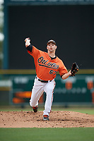 Baltimore Orioles pitcher Brenan Hanifee (67) delivers a pitch during a Florida Instructional League game against the Boston Red Sox on October 8, 2018 at the Ed Smith Stadium in Sarasota, Florida.  (Mike Janes/Four Seam Images)
