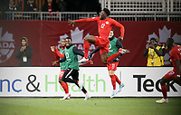 TORONTO, ON - OCTOBER 15: Alphonso Davies #12 of Canada celebrates his goal during a game between Canada and USMNT at BMO Field on October 15, 2019 in Toronto, Canada.