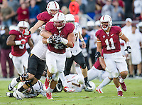 STANFORD, CA - September 21, 2013:  Stanford Cardinal defensive end Ben Gardner (49) recovers a fumble during the Stanford Cardinal vs the Arizona State Sun Devils at Stanford Stadium in Stanford, CA. Final score Stanford Cardinal 42, Arizona State Sun Devils 28.