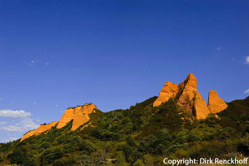 Spanien, Kastilien-Leon, römische Goldmine Las Medulas de Carucedo bei Ponferrada, zerstörte Landschaft, Unesco-Weltkulturerbe