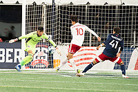 FOXBOROUGH, MA - OCTOBER 16: Arturo Rodriguez #10 of North Texas SC defends near the North Texas goal during a game between North Texas SC and New England Revolution II at Gillette Stadium on October 16, 2020 in Foxborough, Massachusetts.