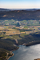 aerial photograph of Lake Hennessey across the Napa Valley toward the west, Napa County, California