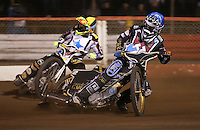 Heat 11: Kim Nilsson (blue) and Scott Nicholls (yellow) - Lakeside Hammers v Rico's All Stars, The Rico Spring Classic at the Arena Essex Raceway, Pufleet - 20/03/15 - MANDATORY CREDIT: Rob Newell/TGSPHOTO - Self billing applies where appropriate - 0845 094 6026 - contact@tgsphoto.co.uk - NO UNPAID USE