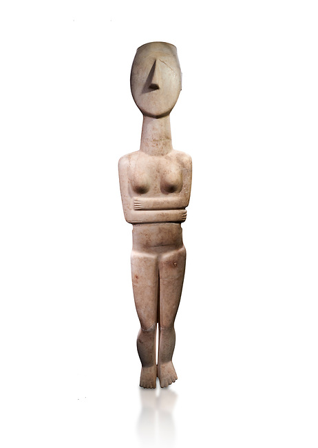 Large Female Cycladic Canonical type, Spedos variety female figurine statuette. Early Cycladic Period II from Syros phase , 1.4m high (2800-2300 BC). Museum of Cycladic Art Athens,  Against white.<br /> <br /> This impressive Cycladic statue is distinguished by its clear outlines and perfect proportions as well as plasticity of form. A sense of movement is introduced into the staue by its left hip being raised and a slight inclination of the head to the right. This movement gives the statue an air of mysetery and makes it a precursor of the later Archaic statue forms. This sense of movement also sets this Cycladic statue apart from other of the period. It was probably a cult statue and stood at the shrine of a cult goddess.