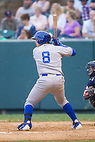 Chase Vallot (8) of the Burlington Royals at bat against the Pulaski Mariners at Calfee Park on June 20, 2014 in Pulaski, Virginia.  The Mariners defeated the Royals 6-4. (Brian Westerholt/Four Seam Images)