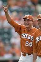 Texas Longhorns pitcher Cole Green #24 before the game against the Texas A&M Aggies in NCAA Big XII Conference baseball on May 21, 2011 at Disch Falk Field in Austin, Texas. (Photo by Andrew Woolley / Four Seam Images)