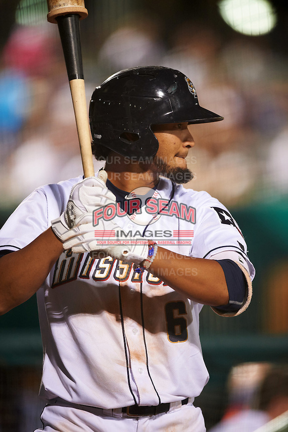San Antonio Missions shortstop Jose Rondon (6) on deck during a game against the Midland RockHounds on April 22, 2016 at Nelson W. Wolff Municipal Stadium in San Antonio, Texas.  San Antonio defeated Midland 8-4.  (Mike Janes/Four Seam Images)