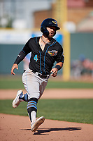 Akron RubberDucks Ka'ai Tom (4) running the bases during an Eastern League game against the Erie SeaWolves on June 2, 2019 at UPMC Park in Erie, Pennsylvania.  Erie defeated Akron 8-5 in eleven innings of the second game of a doubleheader.  (Mike Janes/Four Seam Images)