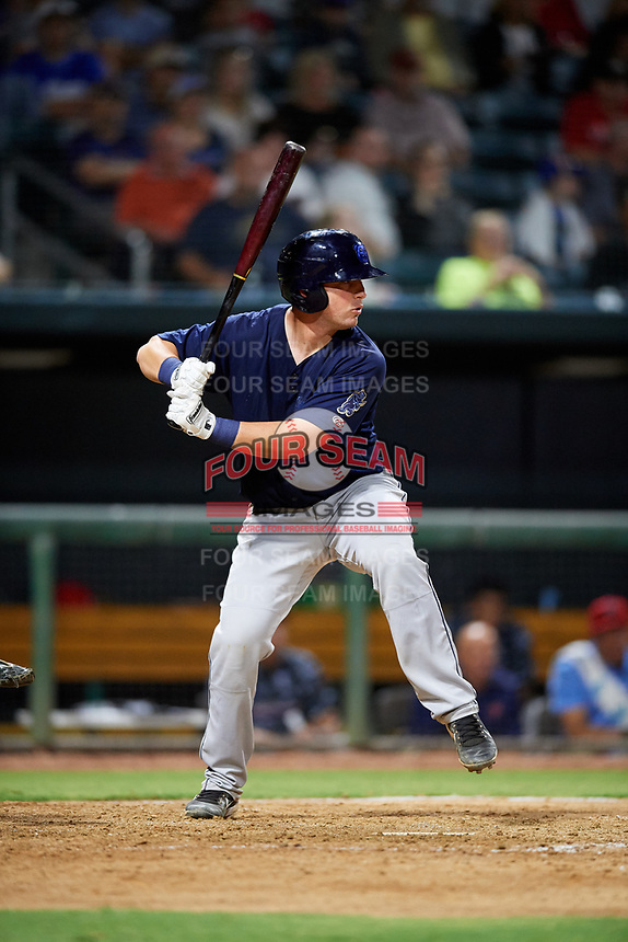 Mobile BayBears catcher Michael Barash (16) at bat during a game against the Jacksonville Jumbo Shrimp on April 14, 2018 at Baseball Grounds of Jacksonville in Jacksonville, Florida.  Mobile defeated Jacksonville 13-3.  (Mike Janes/Four Seam Images)