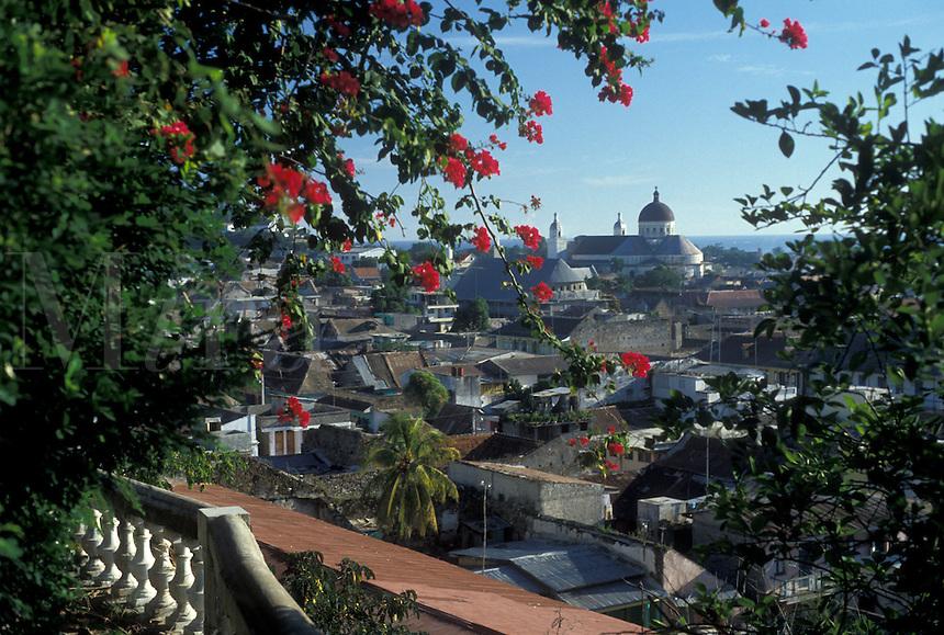 AJ2290, Haiti, Caribbean, Scenic view of Cap-Haitian and the cathedral in Haiti.