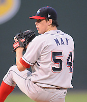 Sept. 17, 2009: Starting pitcher Trevor May (54) of the Lakewood BlueClaws in Game 3 of the South Atlantic League Championship Series between the Greenville Drive and the BlueClaws at Fluor Field at the West End in Greenville, S.C. Photo by: Tom Priddy/Four Seam Images