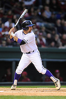 Infielder Jordan Simpson (27) of the Furman Paladins bats in a game against the South Carolina Gamecocks on Wednesday, April 3, 2013, at Fluor Field at the West End in Greenville, South Carolina. (Tom Priddy/Four Seam Images)