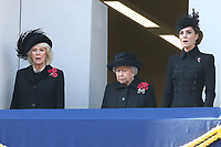 ***NO UK*** REF: MTX 193994 - Camilla, Duchess of Cornwall, Queen Elizabeth II and Catherine, Duchess of Cambridge attend the annual Remembrance Sunday memorial at The Cenotaph in London, England.  NOVEMBER 10th 2019. Credit: Trevor Adams/Matrix/MediaPunch