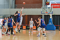 Billie Massey (34) of Belgium and Dragana Stankovic (14) of Serbia pictured during a basketball game between the national teams of Belgium , called the Belgian Cats , and Serbia on Friday 28 th of May 2021 in Kortrijk , Belgium . PHOTO SPORTPIX.BE | SPP | STIJN AUDOOREN