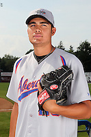 Aberdeen Ironbirds pitcher Jose Barajas (25) poses for a photo before a game vs. the Batavia Muckdogs at Dwyer Stadium in Batavia, New York;  August 11, 2010.   Batavia defeated Aberdeen 10-1.  Photo By Mike Janes/Four Seam Images