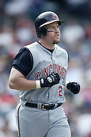 Sean Casey of the Cincinnati Reds runs the bases during a 2002 MLB season game against the Los Angeles Angels at Angel Stadium, in Anaheim, California. (Larry Goren/Four Seam Images)