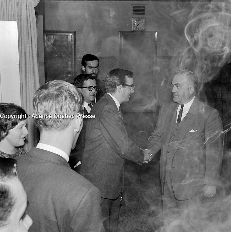 Le depute de l'Union Nationale Maurice Bellemare, Octobre 1965 (entre le 2 et le 8)<br /> <br /> PHOTO : Agence Quebec Presse  - Photo Moderne