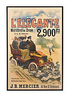 BNPS.co.uk (01202 558833)<br /> Pic: Dreweatts/BNPS<br /> <br /> Pictured: A poster titled, 'The Elegant Engines of Dion' is on sale for £700<br /> <br /> A glamorous collection of early French motorsport posters has emerged for sale with a British auction house for £25,000.<br /> <br /> The earliest examples date from 1900 showing well-heeled Parisians chauffeured in vintage cars on the capital's streets.<br /> <br /> The vehicles are flanked by marching bands with passengers in their finest clothes to reinforce the element of prestige.<br /> <br /> There is a striking 1902 French poster of a British Mulberry car in the Scottish Highlands, while another celebrates the 1934 Grand Parade Vichy.
