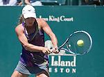 April  7, 2016:  Yulia Putintseva (KAZ) defeated Venus Williams (USA) 7-6, 2-6, 6-4, at the Volvo Car Open being played at Family Circle Tennis Center in Charleston, South Carolina.  ©Leslie Billman/Tennisclix/Cal Sport Media