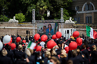 Virginia Raggi, Mayor of Rome.<br /> <br /> Rome, Italy. 05th May, 2021. Today, Alitalia workers, held a demonstration in Piazza del Popolo to mark the 74th Anniversary of Alitalia which saw its first flight: Torino - Roma - Catania, using an airplane FIAT G-12, on the 5th May 1947. The flag carrier of Italy was founded on the 16th September 1946 as Alitalia - Aerolinee Italiane Internazionali - but recently a plan to dismantle it has been under discussion between Mario Draghi's Italian Government and the European Union (EU - UE). The plan is to make Alitalia as a small and regional airline with a different name - while it is still one of the biggest airport slots owner in the world -, and to lay-off the majority of the workers - about 11,000 - of the Italian historical air company.   <br /> <br /> Footnotes & Links:<br /> Previous Demos:<br /> 23.04.2021 - Alitalia Workers Protest At Rome's Fiumicino Airport https://lucaneve.photoshelter.com/gallery/23-04-2021-Alitalia-Workers-Protest-At-Romes-Fiumicino-Airport/G0000I0vNSqRTV.Q/C0000GPpTqAGd2Gg<br /> 16.04.2021 - Alitalia Workers Protest At Fori Imperiali and Campidoglio https://lucaneve.photoshelter.com/gallery/16-04-2021-Alitalia-Workers-Protest-At-Fori-Imperiali-and-Campidoglio/G0000unf5F2yc0Ts/C0000GPpTqAGd2Gg<br /> 03.03.2021 - Alitalia Workers Protest Outside Italian Ministry Of Transport https://lucaneve.photoshelter.com/gallery/03-03-2021-Alitalia-Workers-Protest-Outside-Italian-Ministry-Of-Transport/G0000JI_TNBKDjz8/C0000GPpTqAGd2Gg