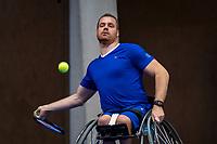 Alphen aan den Rijn, Netherlands, December 15, 2018, Tennispark Nieuwe Sloot, Ned. Loterij NK Tennis, Wheelchair men's semifinal:  Maikel Scheffers (NED)<br /> Photo: Tennisimages/Henk Koster