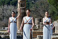 12th March 2020, Olympia, Greece;  Performers are seen during the flame lighting ceremony for Tokyo 2020 Olympic Games