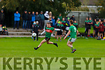 Ian Mannix of Beale been shadowed by Castlegregorys Tadhg Ó Muireartaigh in the Junior Football Championship