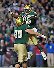 Nov. 12, 2011; Running back Jonas Gray celebrates with offensive tackle Zack Martin after a third quarter touchdown against the Maryland Terrapins at FedEx Field. ..Photo by Matt Cashore/University of Notre Dame